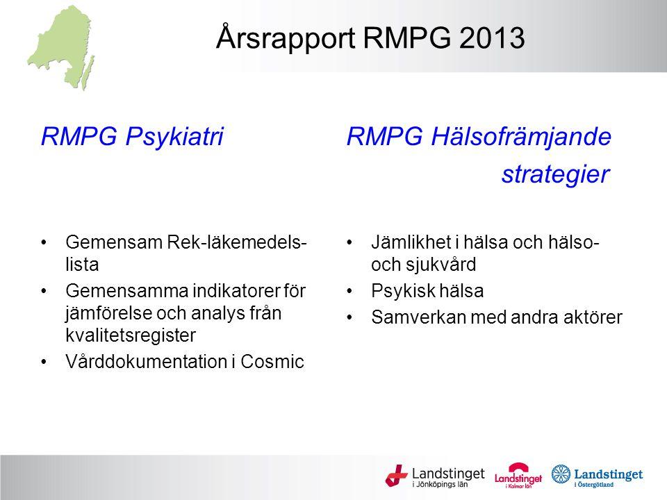 Årsrapport RMPG 2013 RMPG Psykiatri RMPG Hälsofrämjande strategier