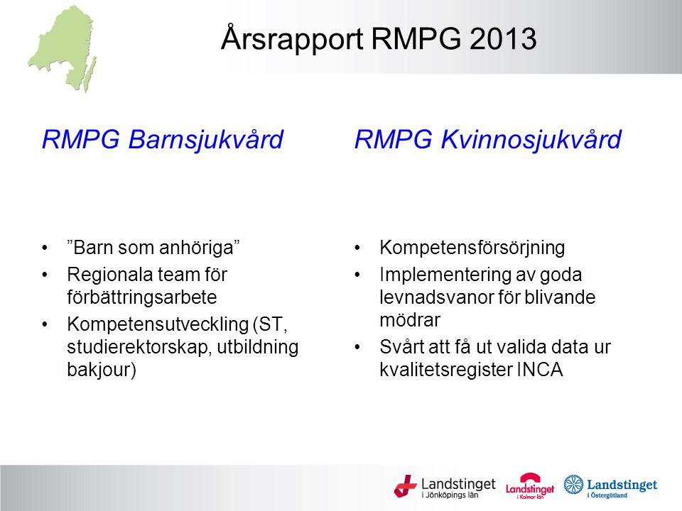 Årsrapport RMPG 2013 RMPG Barnsjukvård RMPG Kvinnosjukvård