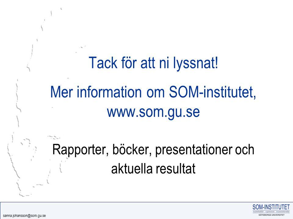 Tack för att ni lyssnat. Mer information om SOM-institutet, www. som