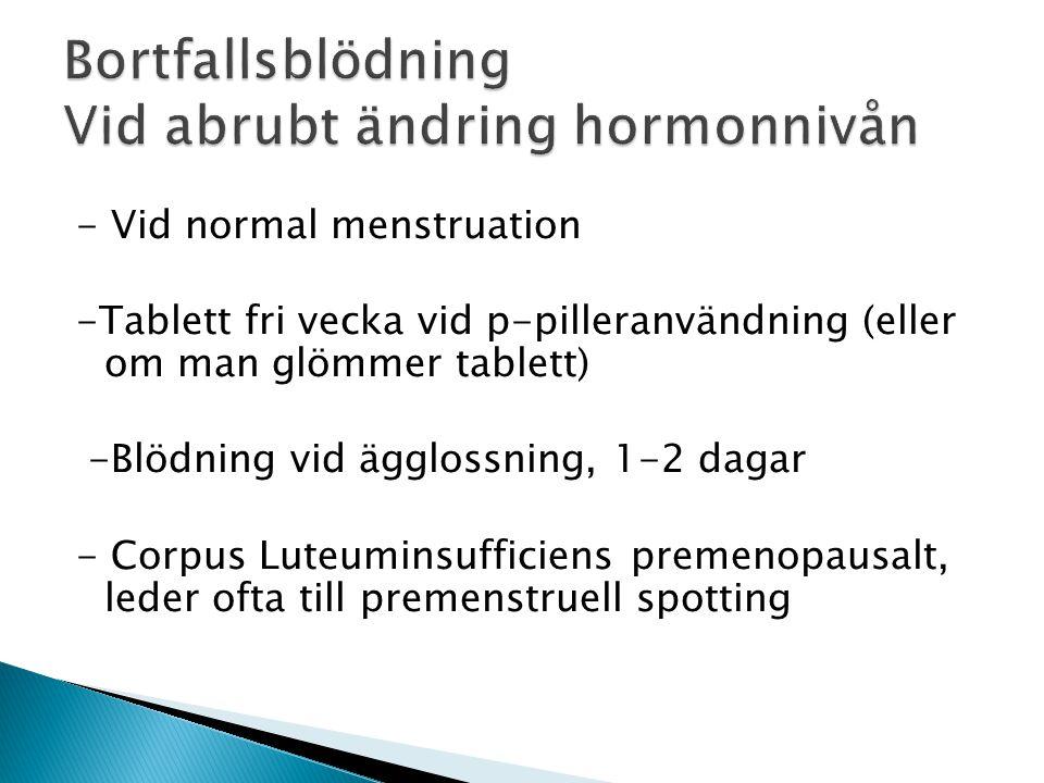 Bortfallsblödning Vid abrubt ändring hormonnivån