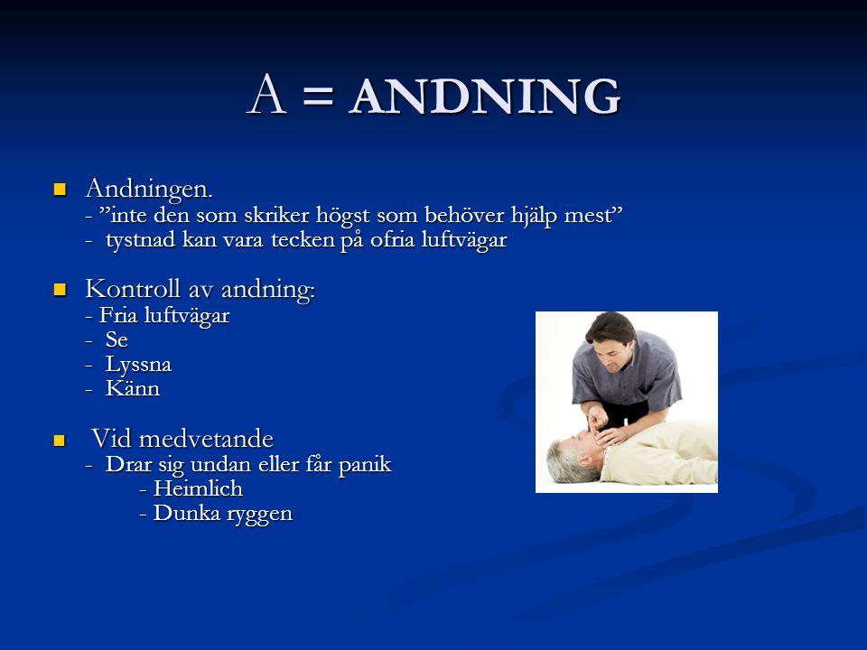 A = ANDNING Andningen. Kontroll av andning: