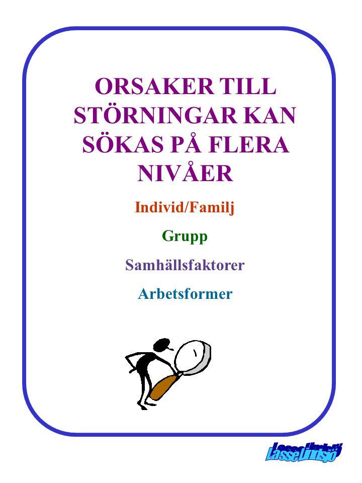 ORSAKER TILL STÖRNINGAR KAN SÖKAS PÅ FLERA NIVÅER
