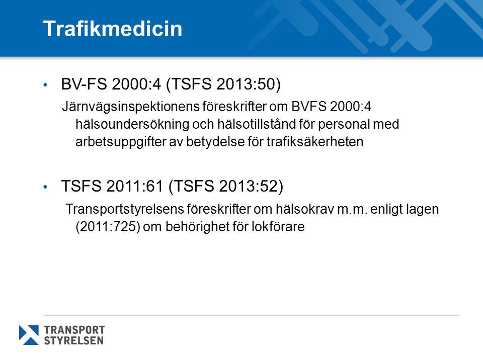 Trafikmedicin BV-FS 2000:4 (TSFS 2013:50) TSFS 2011:61 (TSFS 2013:52)