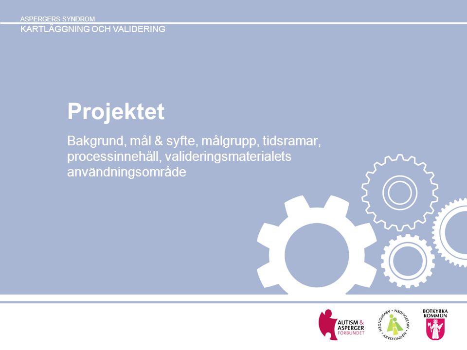 Projektet Bakgrund, mål & syfte, målgrupp, tidsramar, processinnehåll, valideringsmaterialets användningsområde.