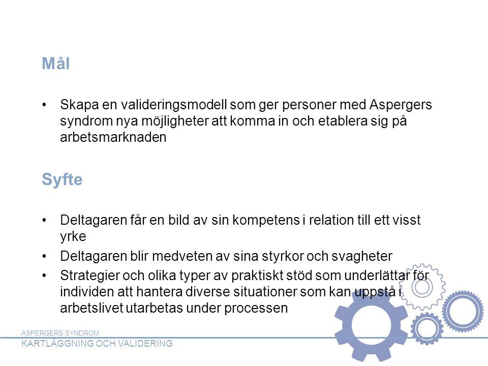Mål Skapa en valideringsmodell som ger personer med Aspergers syndrom nya möjligheter att komma in och etablera sig på arbetsmarknaden.
