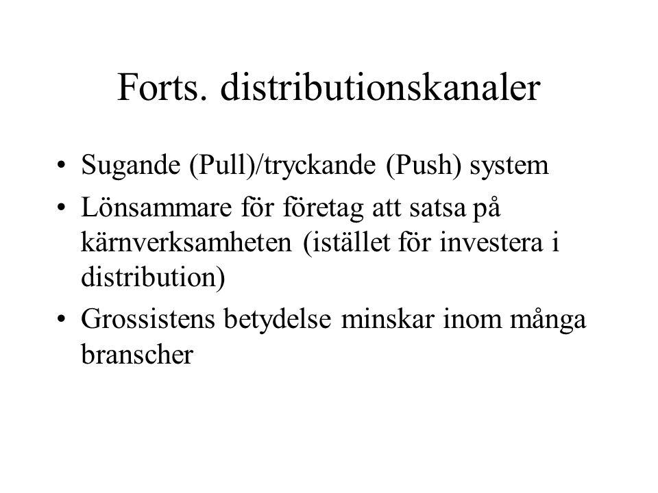 Forts. distributionskanaler