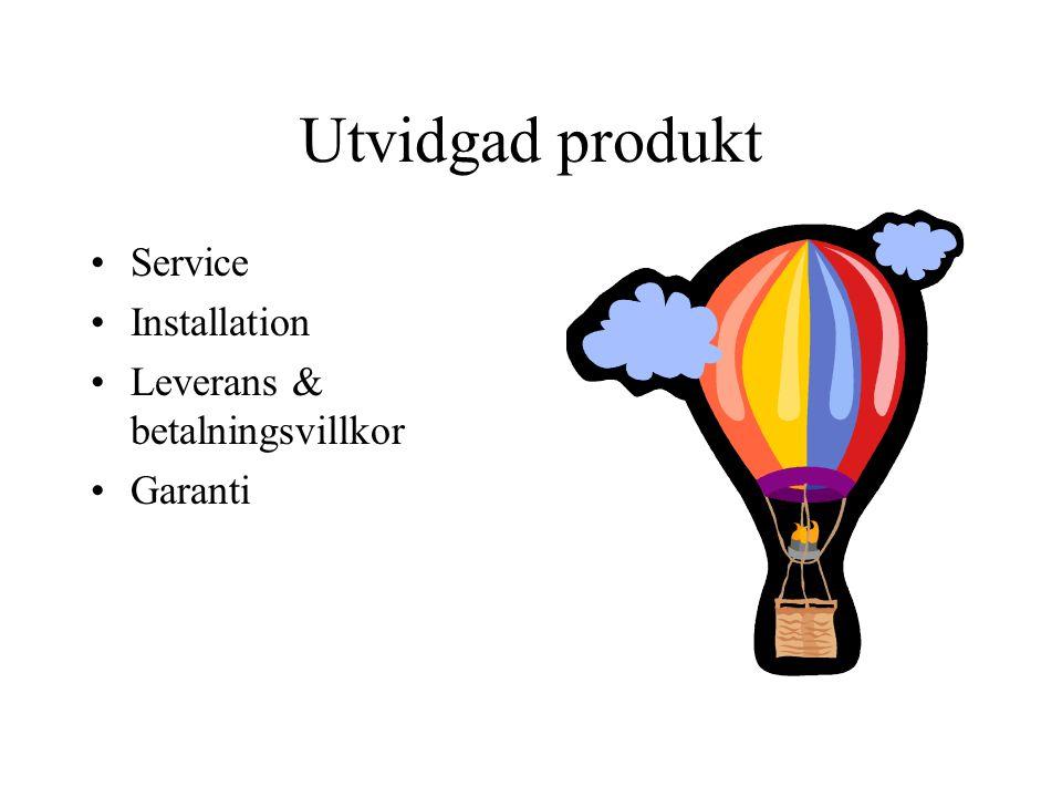 Utvidgad produkt Service Installation Leverans & betalningsvillkor