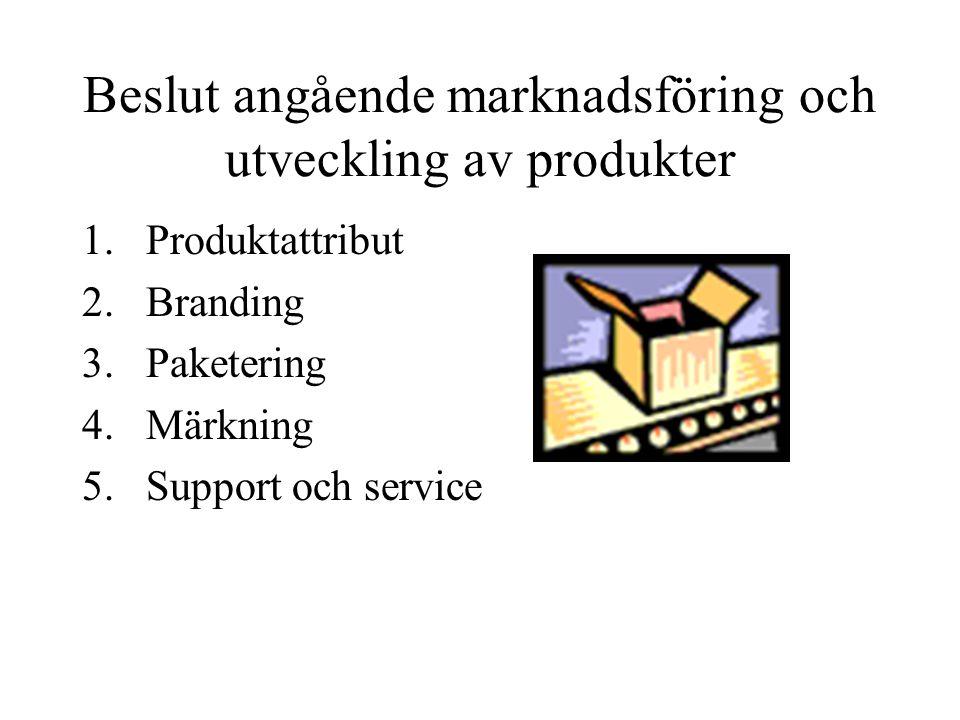 Beslut angående marknadsföring och utveckling av produkter