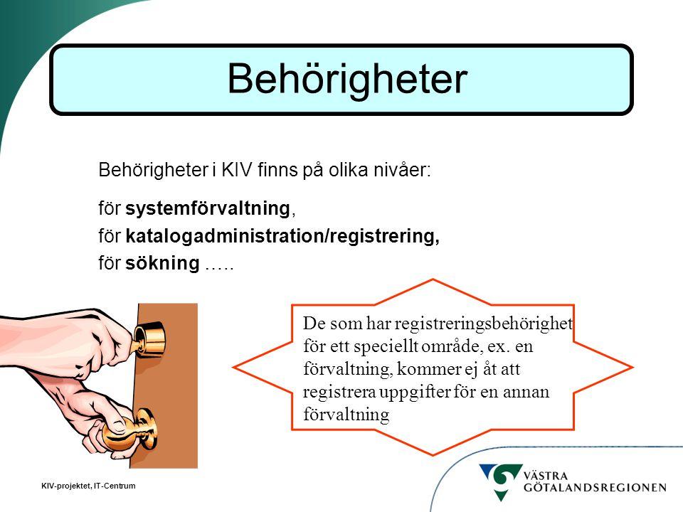 Behörigheter Behörigheter i KIV finns på olika nivåer: