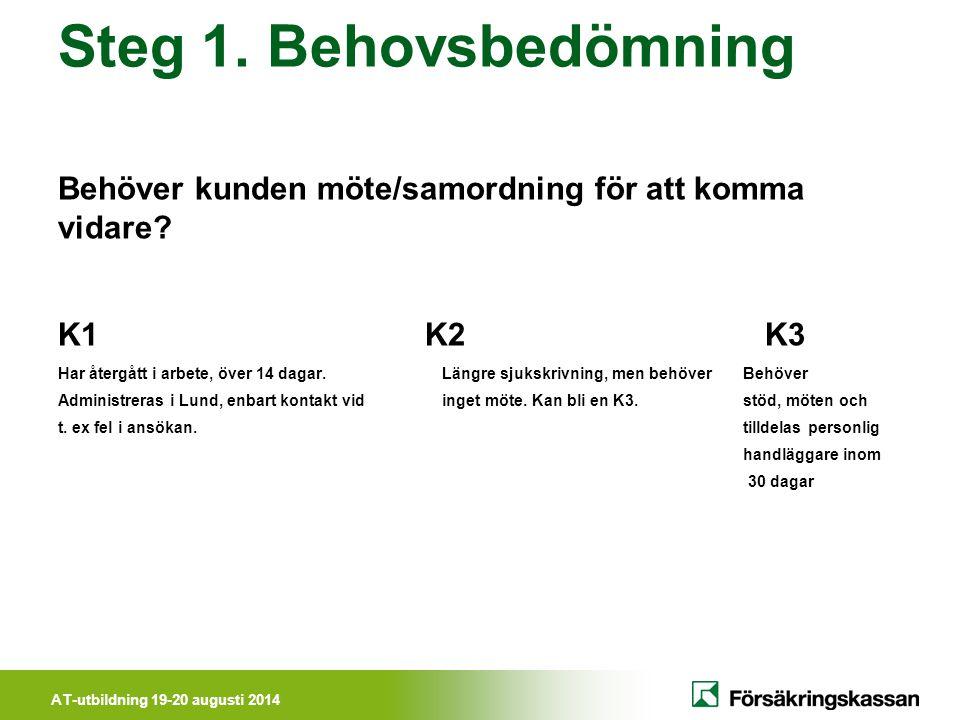 Steg 1. Behovsbedömning Behöver kunden möte/samordning för att komma vidare K1 K2 K3.