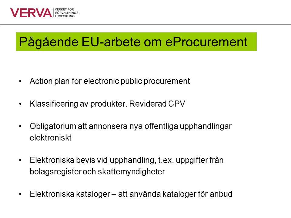 Pågående EU-arbete om eProcurement