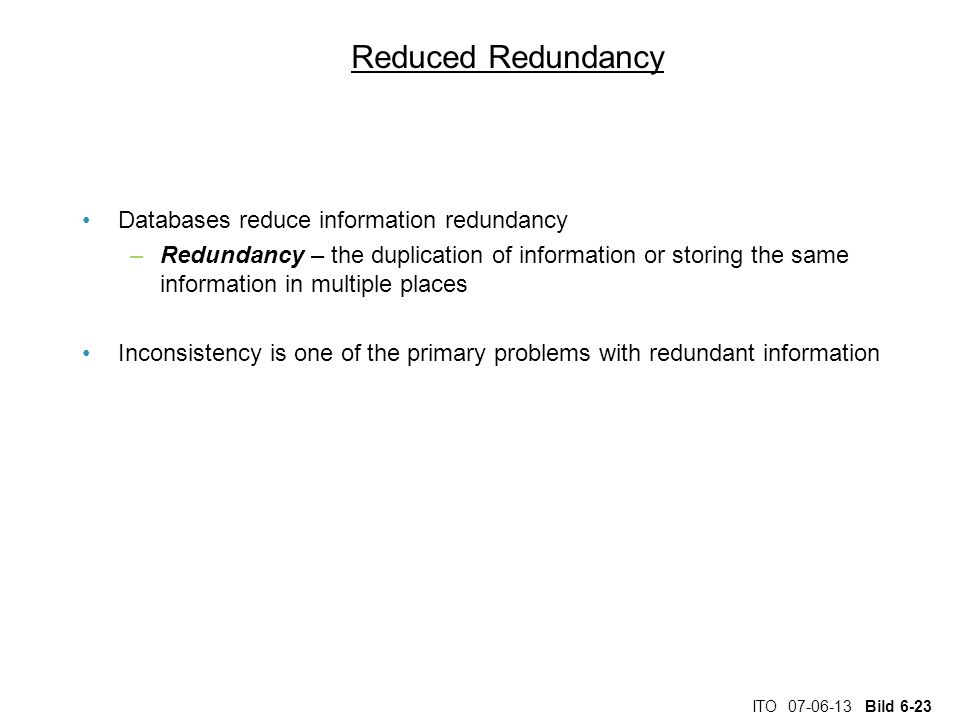 Reduced Redundancy Databases reduce information redundancy