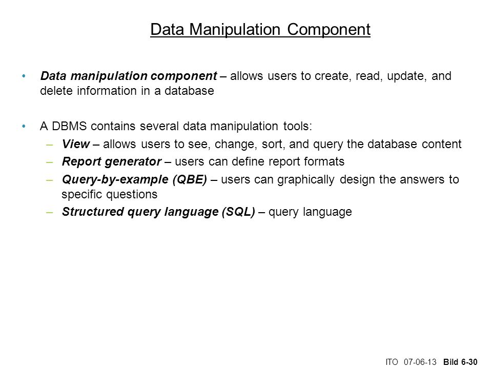 Data Manipulation Component