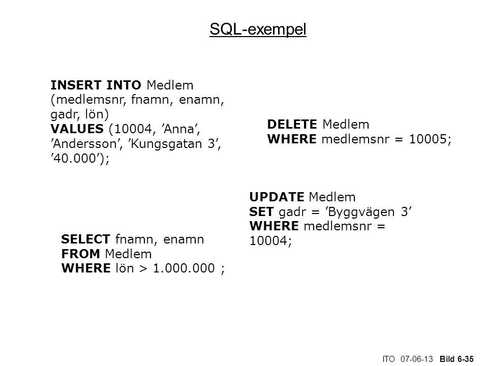 SQL-exempel INSERT INTO Medlem (medlemsnr, fnamn, enamn, gadr, lön)