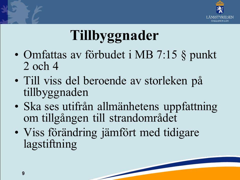 Tillbyggnader Omfattas av förbudet i MB 7:15 § punkt 2 och 4