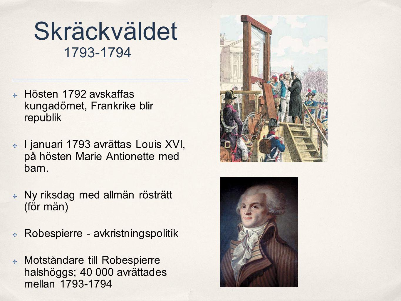 Skräckväldet 1793-1794 Hösten 1792 avskaffas kungadömet, Frankrike blir republik.