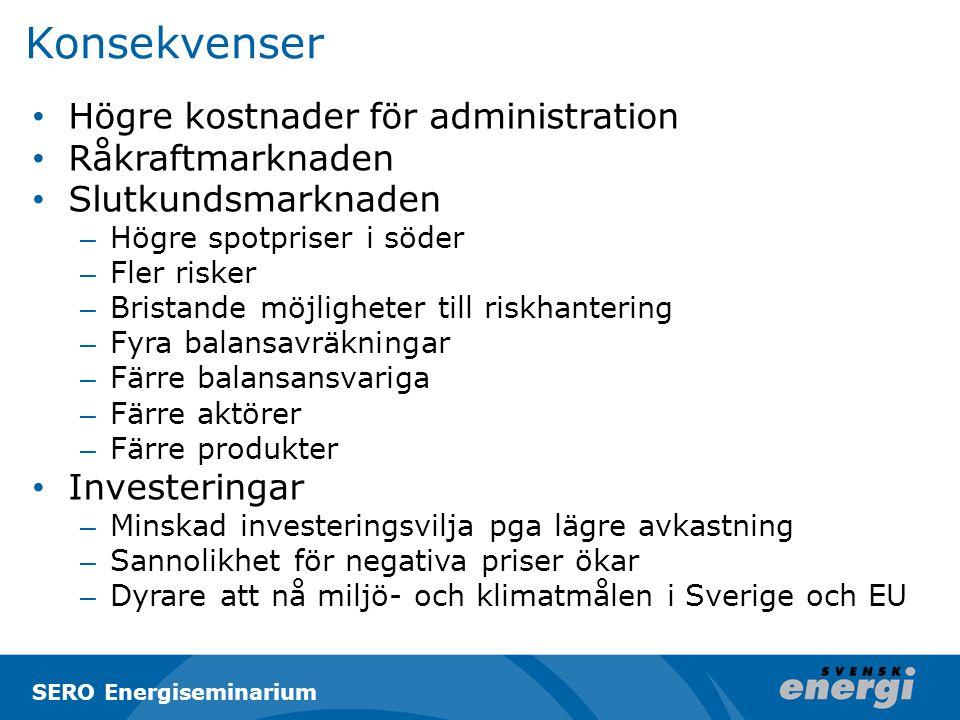 Konsekvenser Högre kostnader för administration Råkraftmarknaden