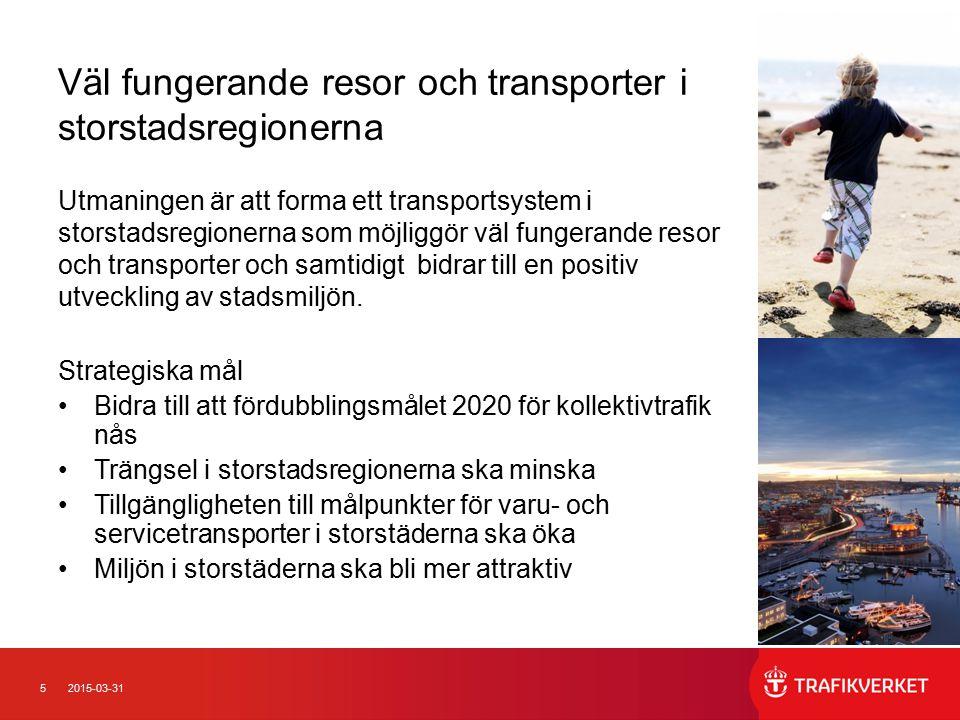 Väl fungerande resor och transporter i storstadsregionerna