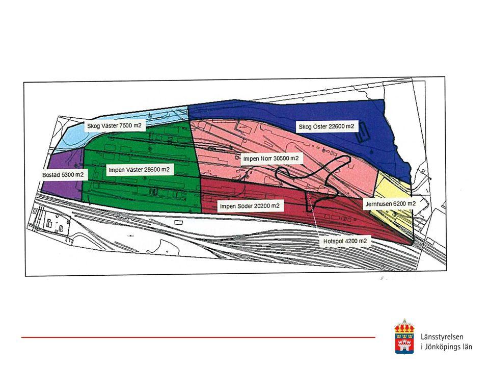 Bilder visar en indelning av området i delområden (dock räknas delområde Bostad numera som industrimark) utifrån markanvändning, markägarförhållanden samt vilket avrinningsområde det tillhör