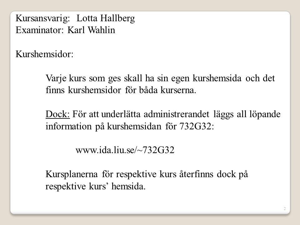 Kursansvarig: Lotta Hallberg