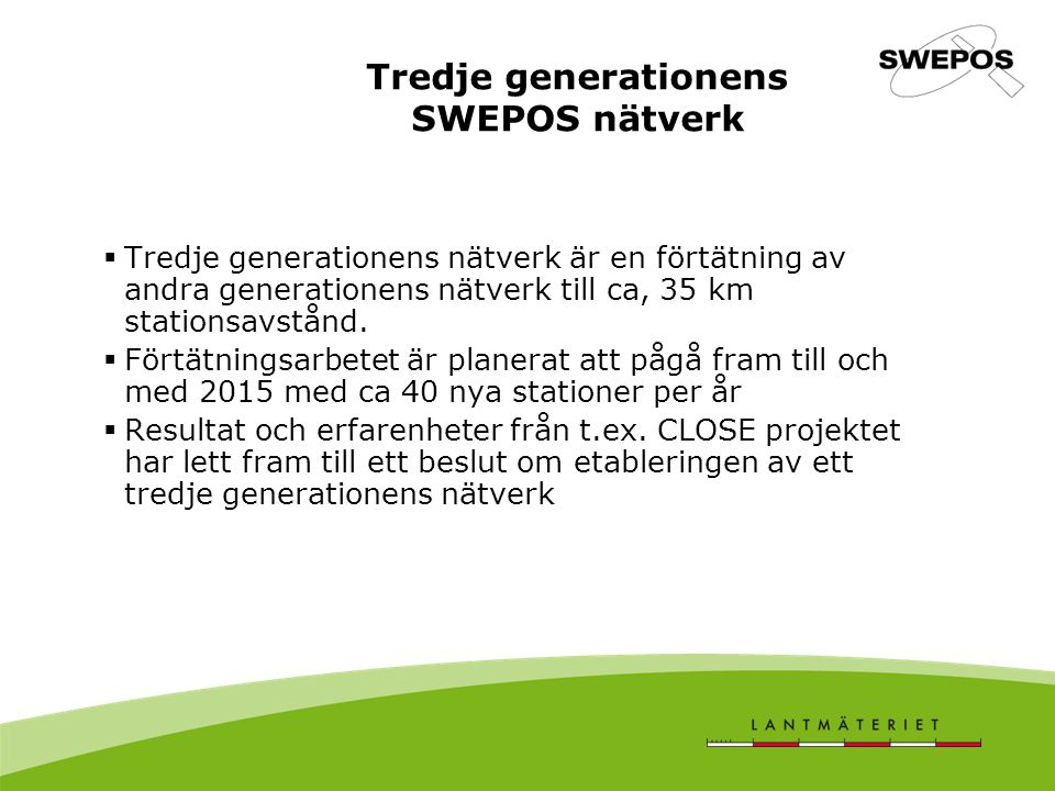 Tredje generationens SWEPOS nätverk