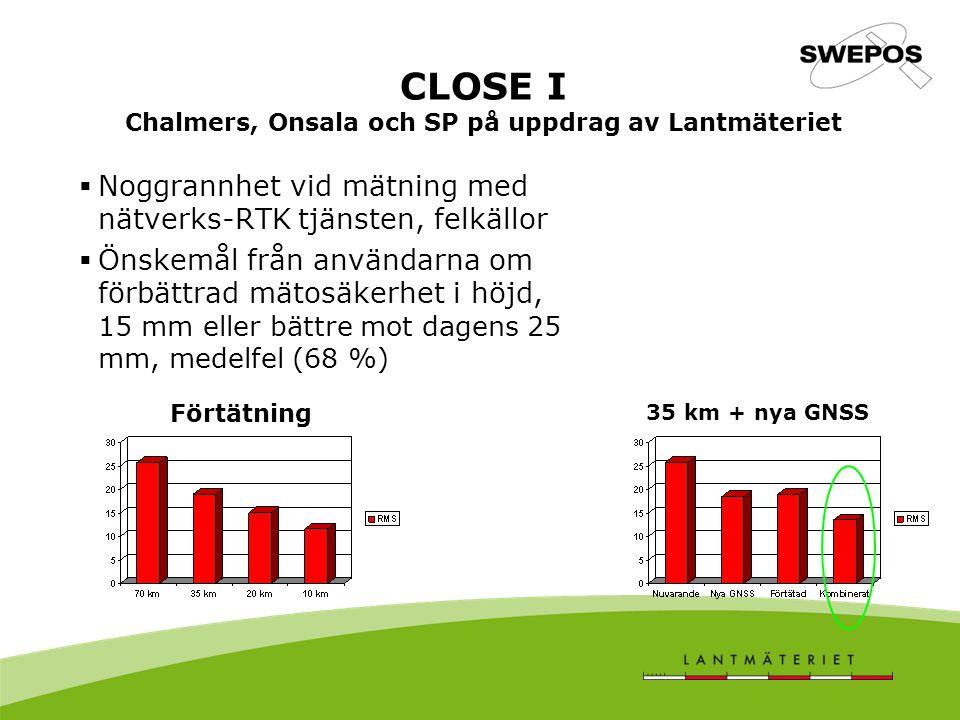 CLOSE I Chalmers, Onsala och SP på uppdrag av Lantmäteriet