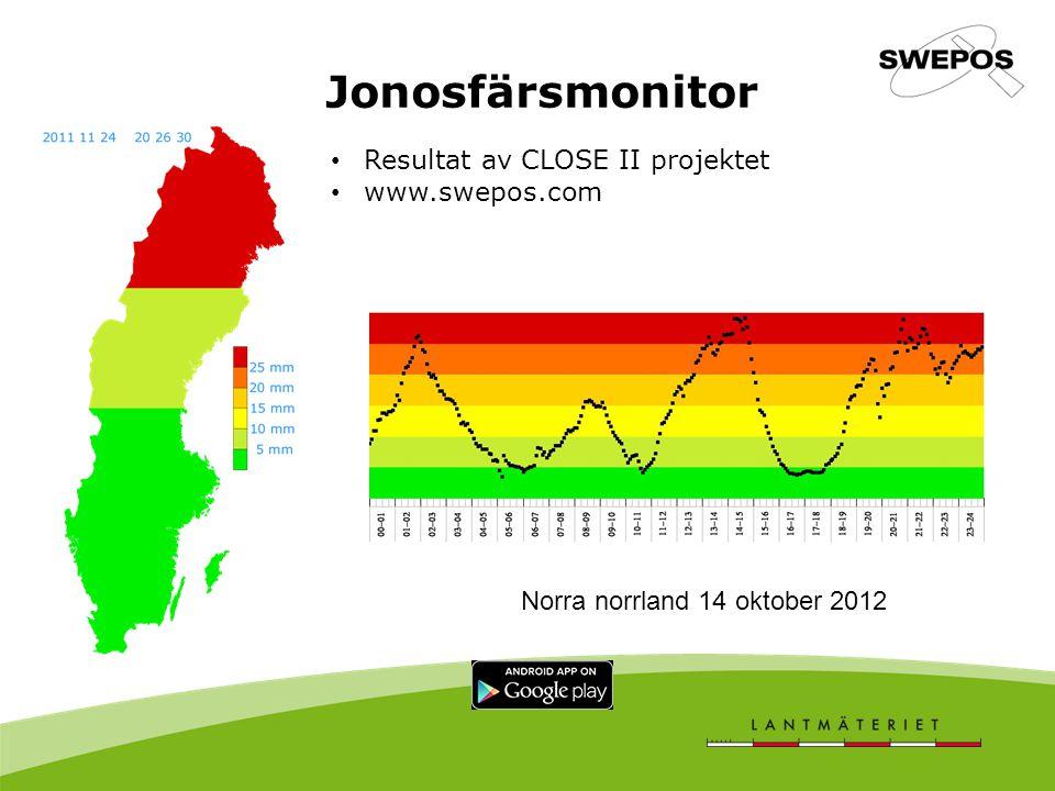 Jonosfärsmonitor Resultat av CLOSE II projektet www.swepos.com