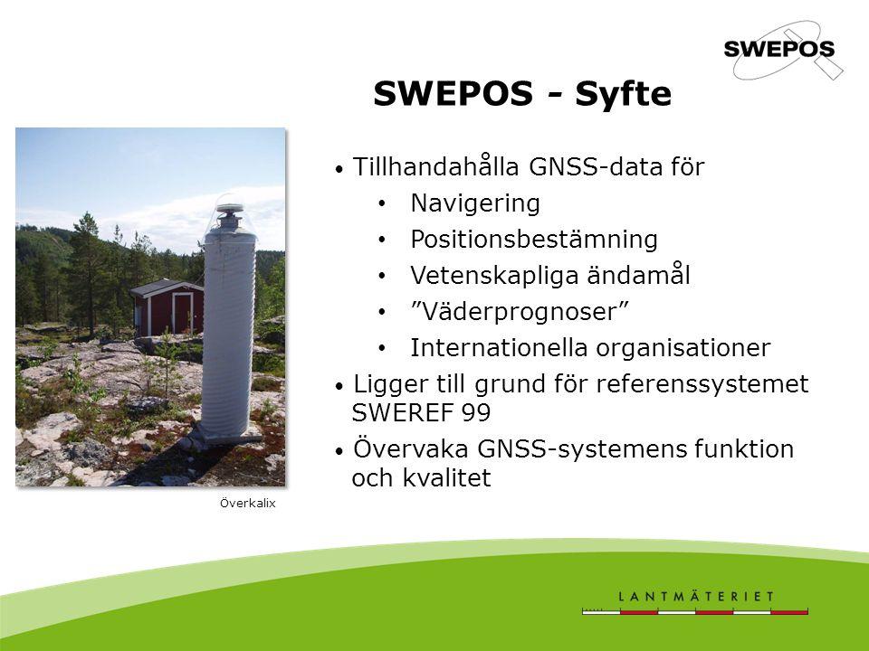 SWEPOS - Syfte Tillhandahålla GNSS-data för Navigering
