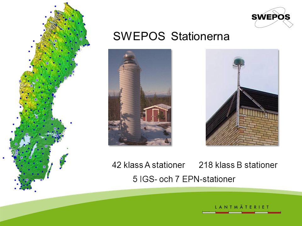 SWEPOS Stationerna 42 klass A stationer 218 klass B stationer