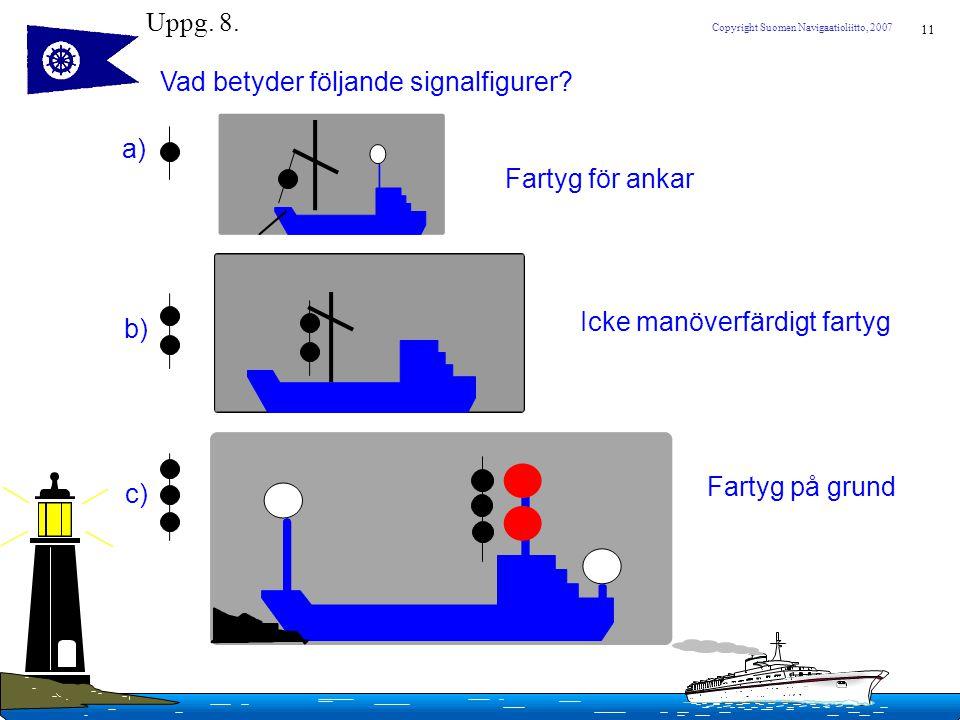 Uppg. 8. Vad betyder följande signalfigurer a) Fartyg för ankar. Icke manöverfärdigt fartyg. b)