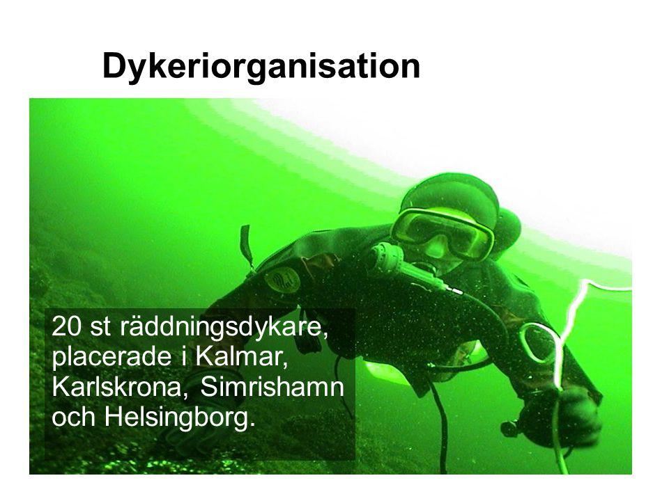 Dykeriorganisation 20 st räddningsdykare, placerade i Kalmar, Karlskrona, Simrishamn och Helsingborg.