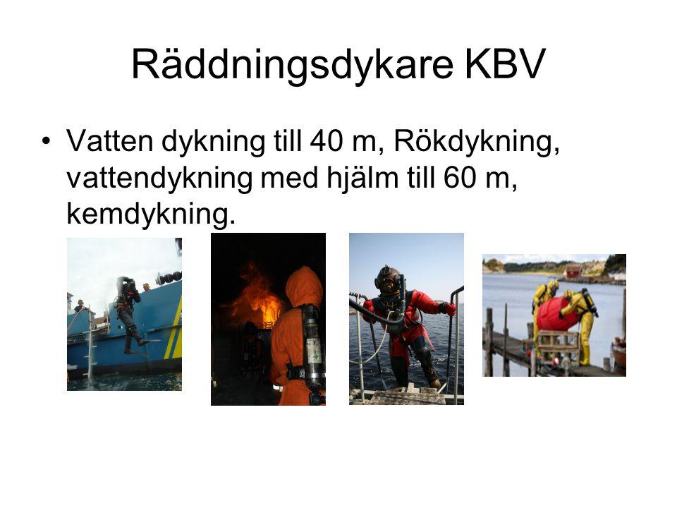 Räddningsdykare KBV Vatten dykning till 40 m, Rökdykning, vattendykning med hjälm till 60 m, kemdykning.