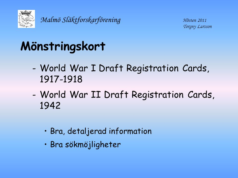 Mönstringskort World War I Draft Registration Cards, 1917-1918