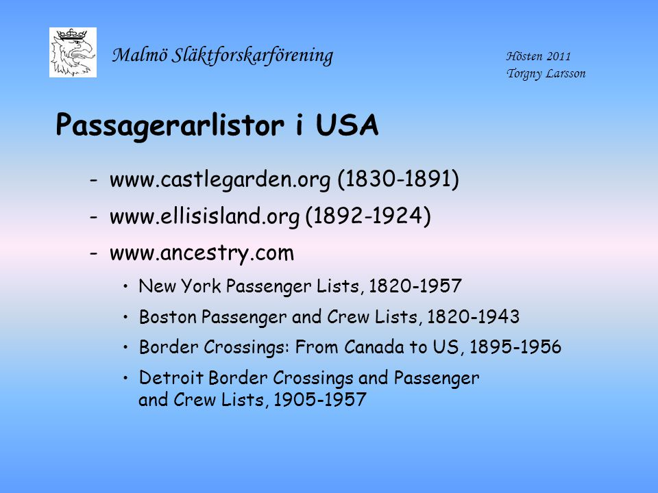 Passagerarlistor i USA