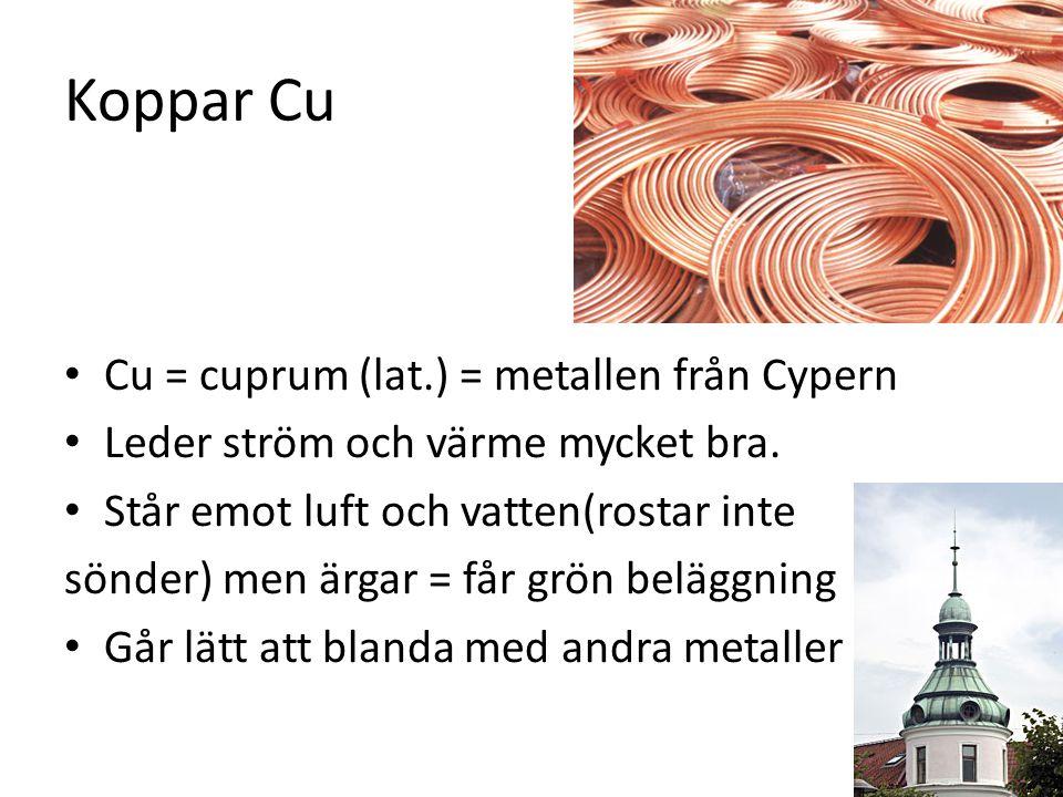Koppar Cu Cu = cuprum (lat.) = metallen från Cypern