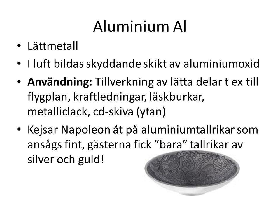 Aluminium Al Lättmetall I luft bildas skyddande skikt av aluminiumoxid