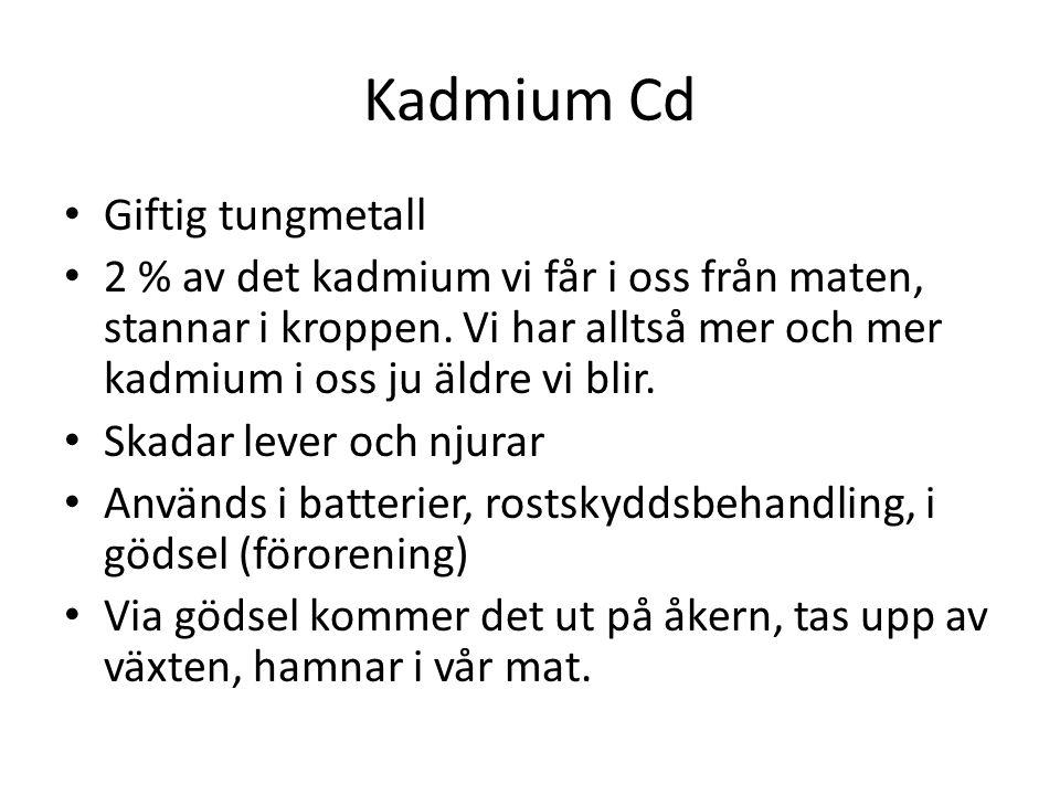 Kadmium Cd Giftig tungmetall