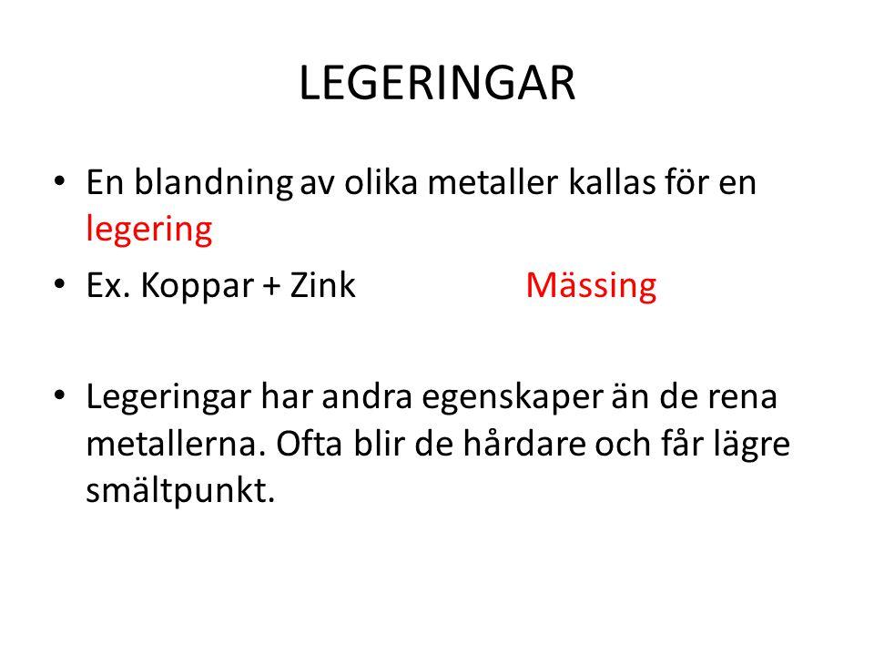 LEGERINGAR En blandning av olika metaller kallas för en legering