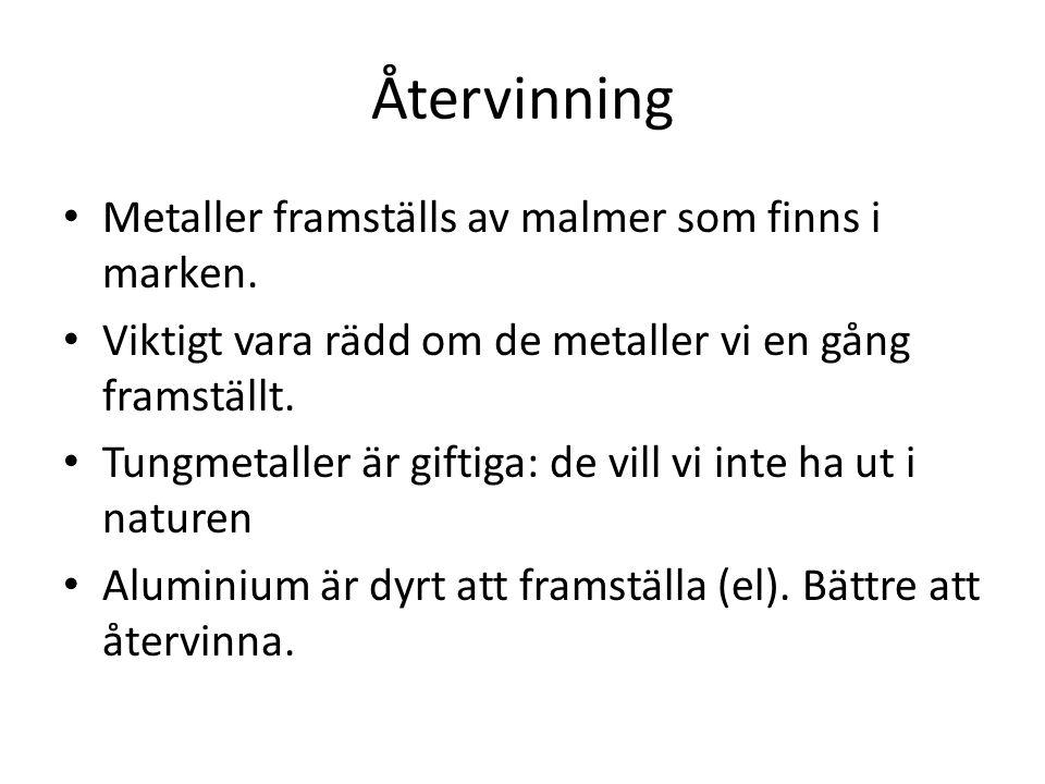 Återvinning Metaller framställs av malmer som finns i marken.