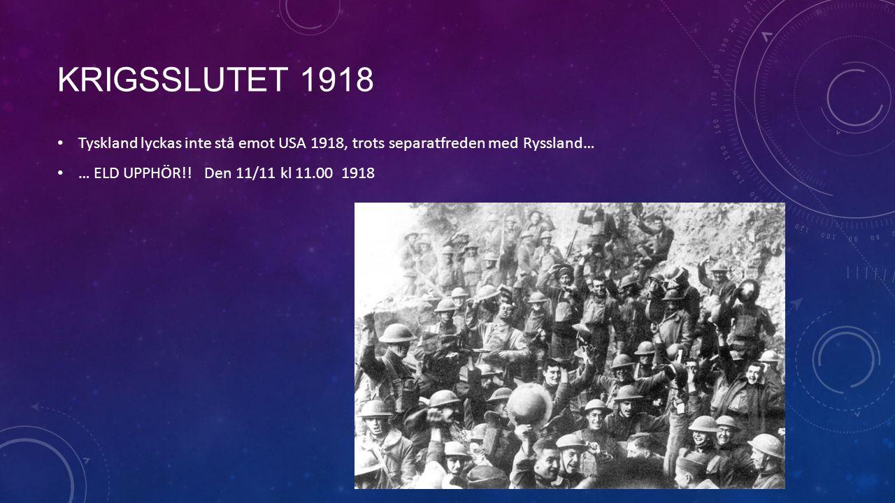 Krigsslutet 1918 Tyskland lyckas inte stå emot USA 1918, trots separatfreden med Ryssland… … ELD UPPHÖR!.