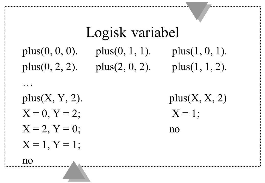 Logisk variabel plus(0, 0, 0). plus(0, 1, 1). plus(1, 0, 1).