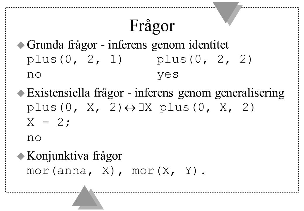 Frågor Grunda frågor - inferens genom identitet plus(0, 2, 1) plus(0, 2, 2) no yes.