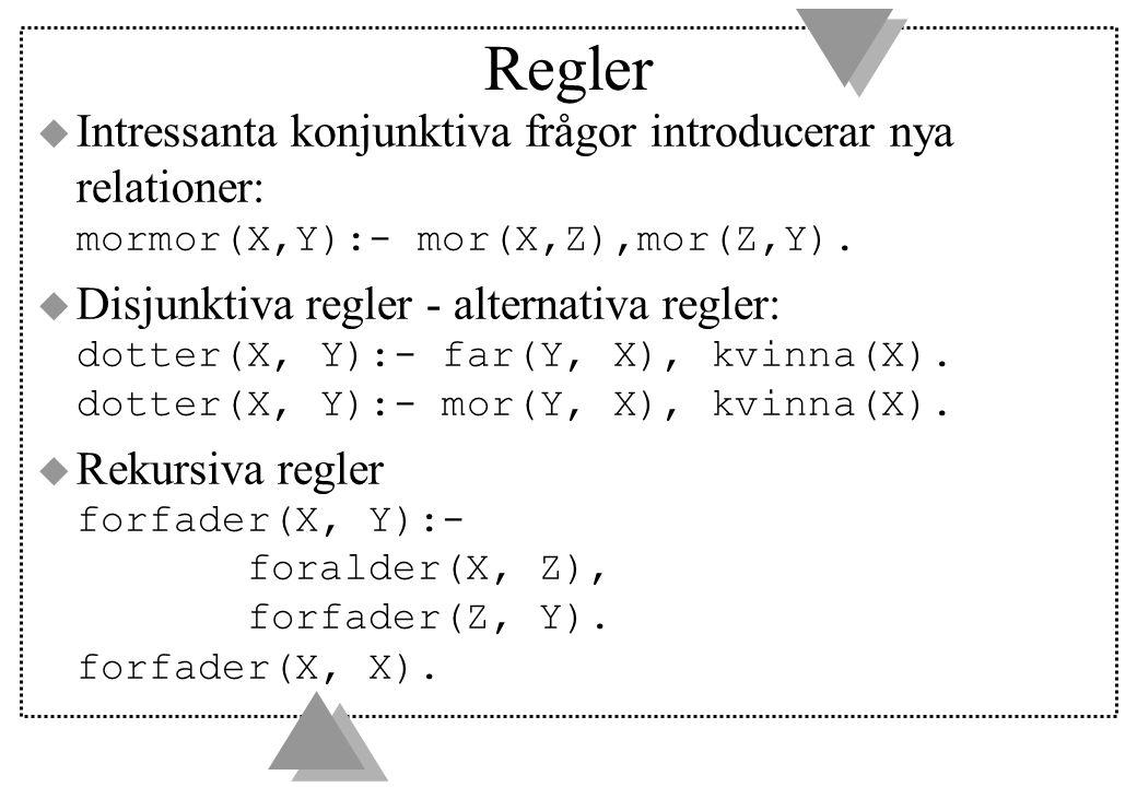 Regler Intressanta konjunktiva frågor introducerar nya relationer: mormor(X,Y):- mor(X,Z),mor(Z,Y).