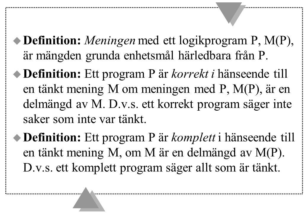 Definition: Meningen med ett logikprogram P, M(P), är mängden grunda enhetsmål härledbara från P.