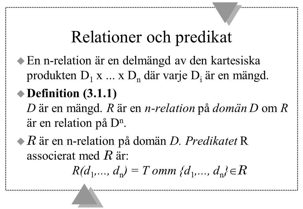 Relationer och predikat