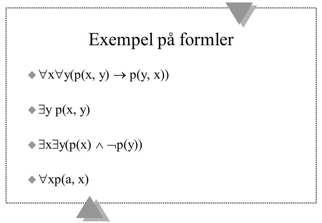 Exempel på formler xy(p(x, y)  p(y, x)) y p(x, y)
