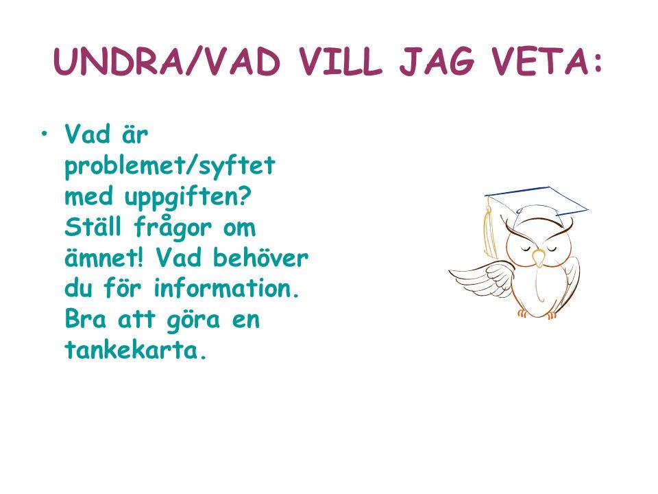 UNDRA/VAD VILL JAG VETA: