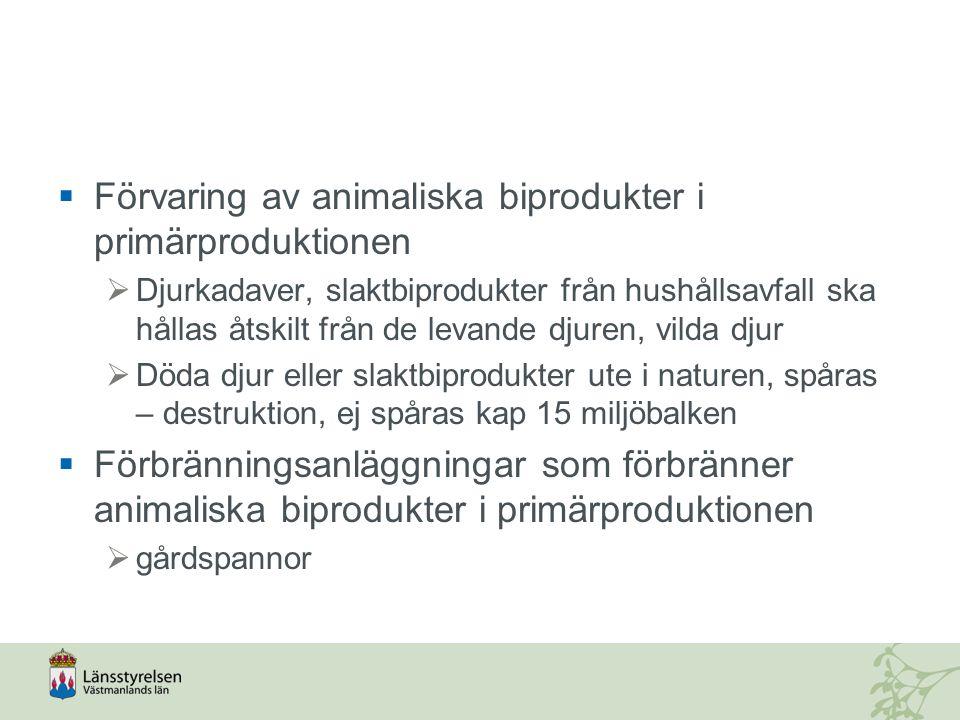 Förvaring av animaliska biprodukter i primärproduktionen