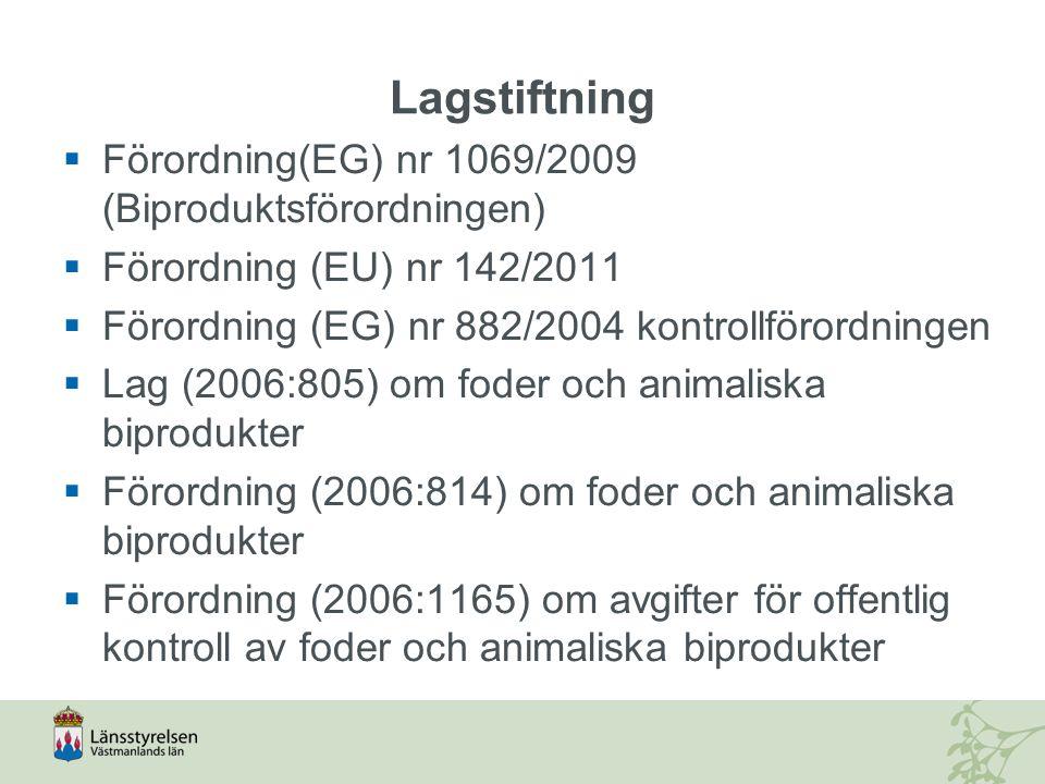 Lagstiftning Förordning(EG) nr 1069/2009 (Biproduktsförordningen)