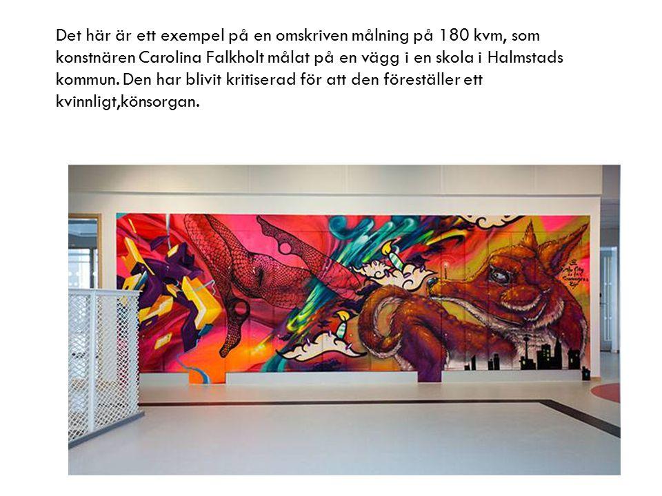 Det här är ett exempel på en omskriven målning på 180 kvm, som konstnären Carolina Falkholt målat på en vägg i en skola i Halmstads kommun.